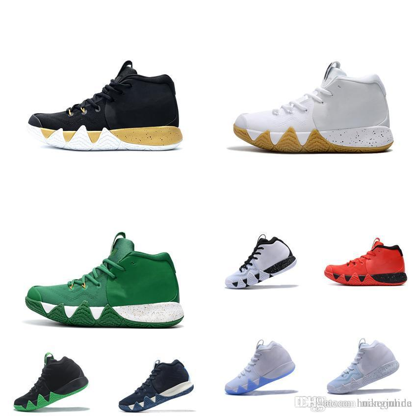 separation shoes 05a6e d7c0d Cheap new 2018 Mens Kyrie Irving 4s basketball shoes Navy Black Gold White  Gum Zoom Air 4s IV sneakers Trainers with original box for sale