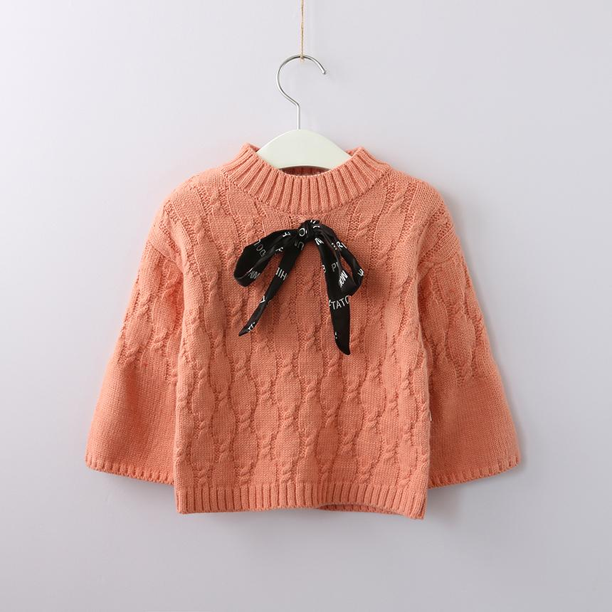 fa516ba79 Kids Girl Knit Cable Sweater With Bow Wholesale Bulk Clothes Fashion ...