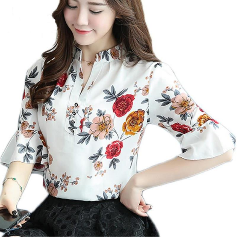 Butterfly Printed Lady White Chiffon Shirts Plus Size S-4xl Long Sleeve Fashion Tops 2018 New Women Blue Blouses The Latest Fashion Women's Clothing
