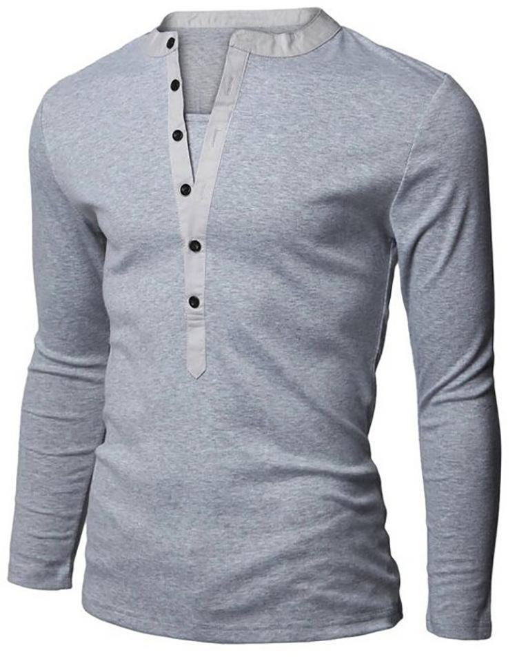 862335d55a Men s Henley Shirt Popular Design Tee Tops Long Sleeve Stylish Slim Fit  Plain T-shirt Button Placket Casual Men T-shirts
