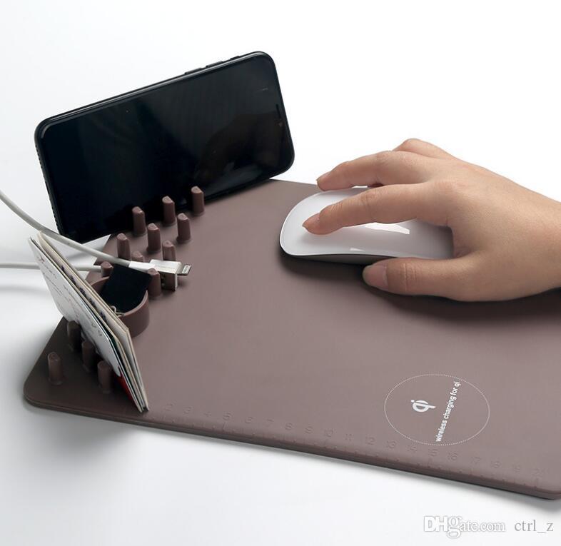 3 в 1 Зарядные устройства для мобильных телефонов QI Беспроводная зарядка Коврик для мыши Anti-Slip Подходит для iPhone X для sumsung note 8