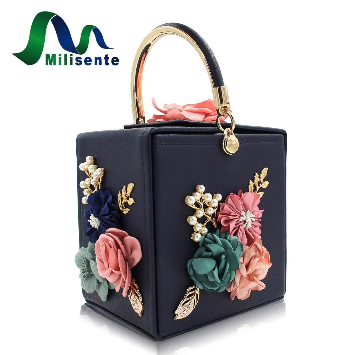 Milisente Brand Women Flower Wedding Party Clutch Purse Ladies Evening Bag  Royal Blue Day Clutches With Pearl Chain Leather Handbag Womens Handbags  From ... 33ac190d8