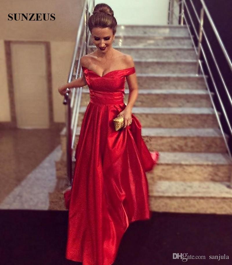 Simple And Elegant White Satin Sweetheart With Jacket: Long Red Satin Evening Dresses Simple Elegant A Line