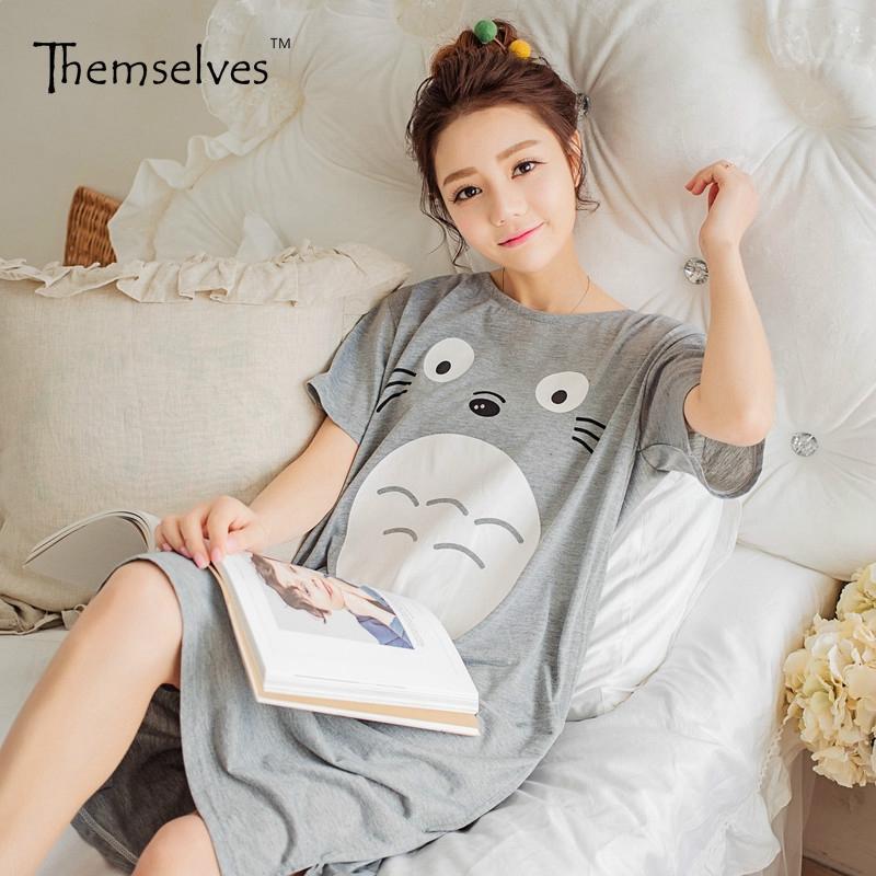 7b5776ffbb9a 2019 Womens Cotton Summer Nightgowns Women S Short Sleeves Sleepwear  Cartoon Homewear Nightwear From Honjiao
