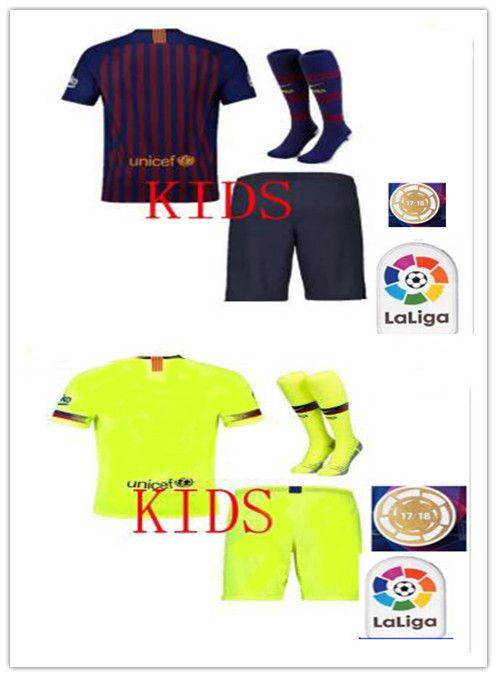 1c868e948 AA+Barcelona 2018 MESSI SUAREZ Kids Jersey Soccer 2019 Camisas Blue ...