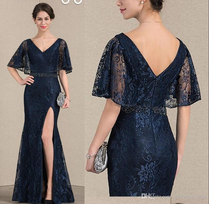 b68a5d76e7d Sexy Mermaid Lace Mother Of The Bride Groom Dresses V Neck Juliet Sleeves  High Slit Beaded Sequin Ribbon Long Evening Formal Dress Gowns Wedding  Mother Of ...