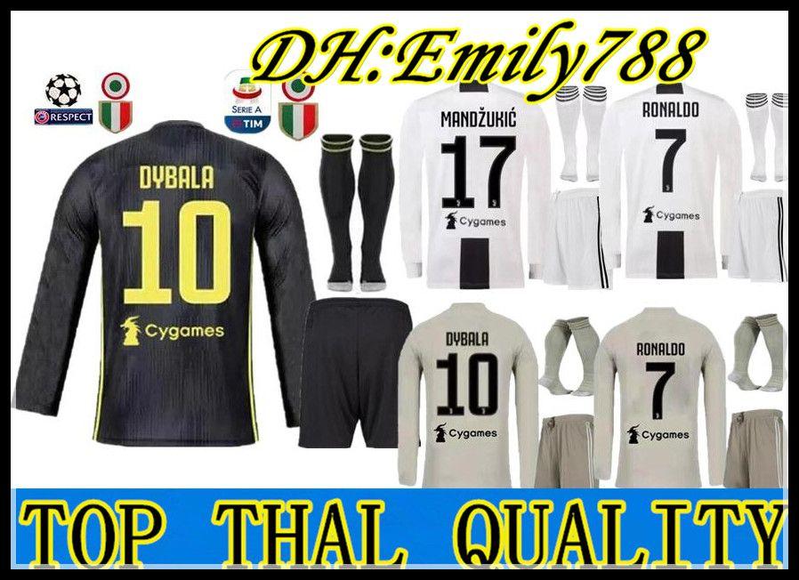 Camiseta De Manga Larga 18 19 Juventus Soccer Jersey Kit 2018 2019 Juve 7  RONALDO 9 HIGUAIN 10 DYBALA 17 MANDZUKIC BUFFON Tercera Camiseta De Fútbol  ... d9190e29c8759