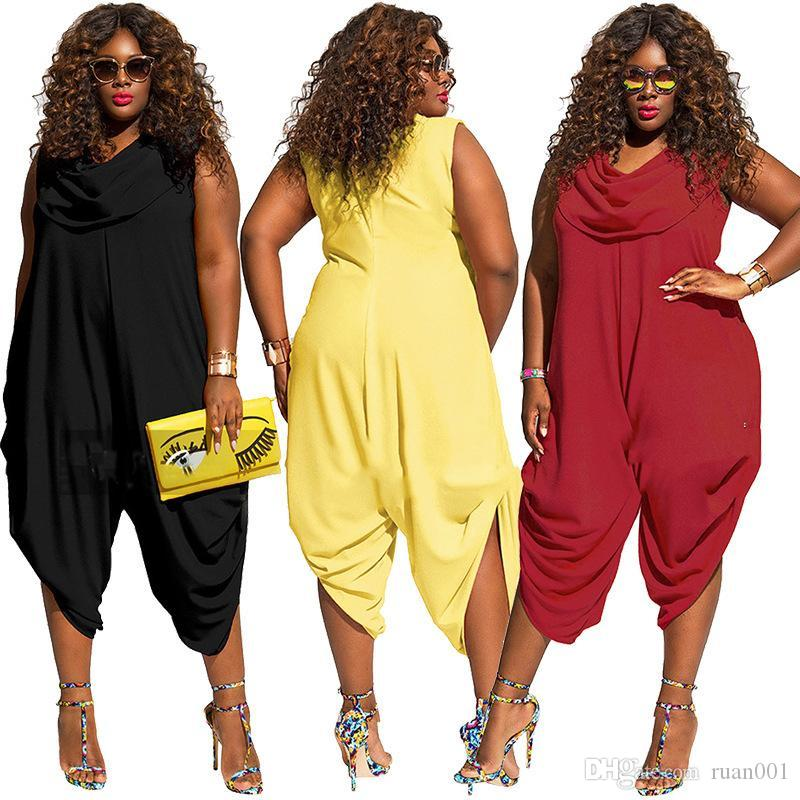 093c180d8c9b 2019 XL 5XL Women S Jumpsuits   Rompers Scarf Increases Size