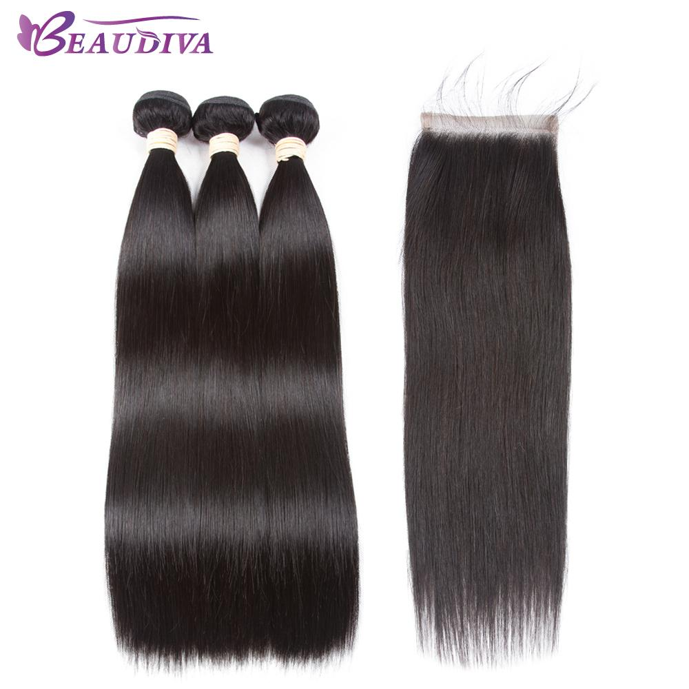 Beaudiva Hair Pre Colored 100 Remy Human Hair Bundles With Closure