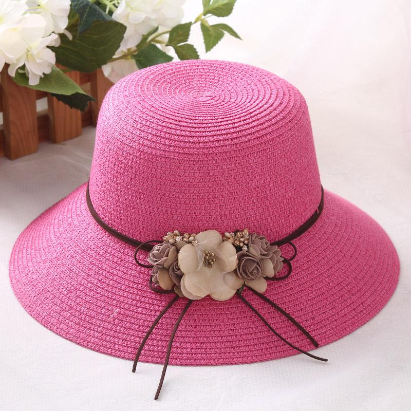 HT1298 Korea Women Summer Straw Hat With Flower Lady Big Wide Brim Lady Floppy  Beach Hat Female Solid Packable Panama Bucket Mens Straw Hats Mens Hat  Styles ... 25933b66183