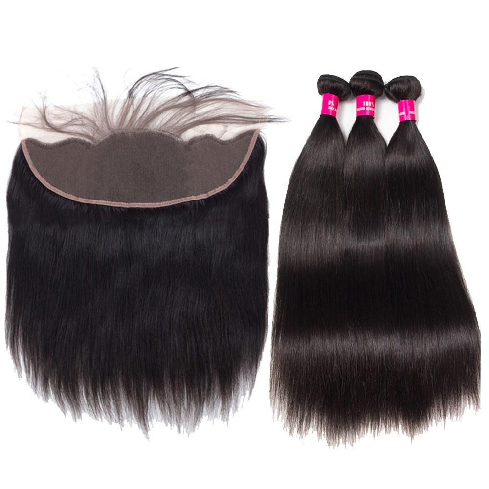8a mink brasileiro onda de corpo reto onda solta kinky encaracolado onda profunda cabelo 3 pacotes com orelha 13x4 para orelha lace frontal fechamento cabelo humano