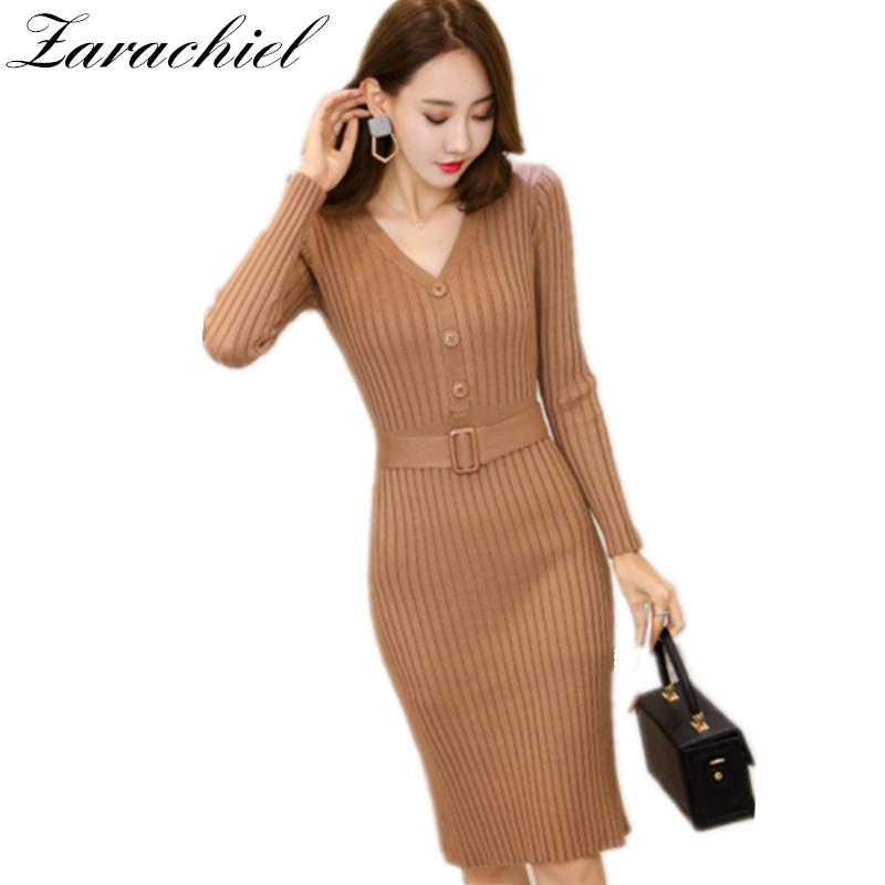 2019 New Autumn Winter Bodycon Knitted Dress Women Long Sleeve Sexy V Neck  Belt Knee Length Dress Casual Office Lady Sweater Dress C18110801 From  Linmei0004 ... b2051034b92c