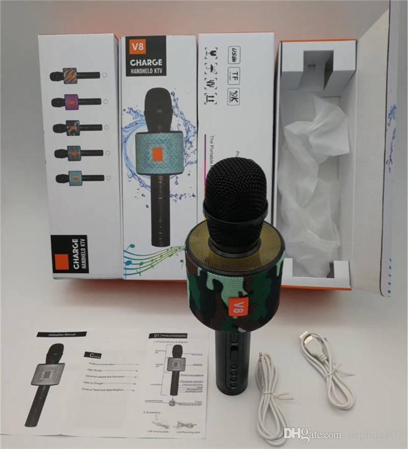 2018 V8 Microphone De Poche Portable Sans Fil Bluetooth Karaoké Lecteur KTV Sing Enregistrer Musique Avec Micro Haut-Parleur Pour Téléphone Portable Smartphone Chanson