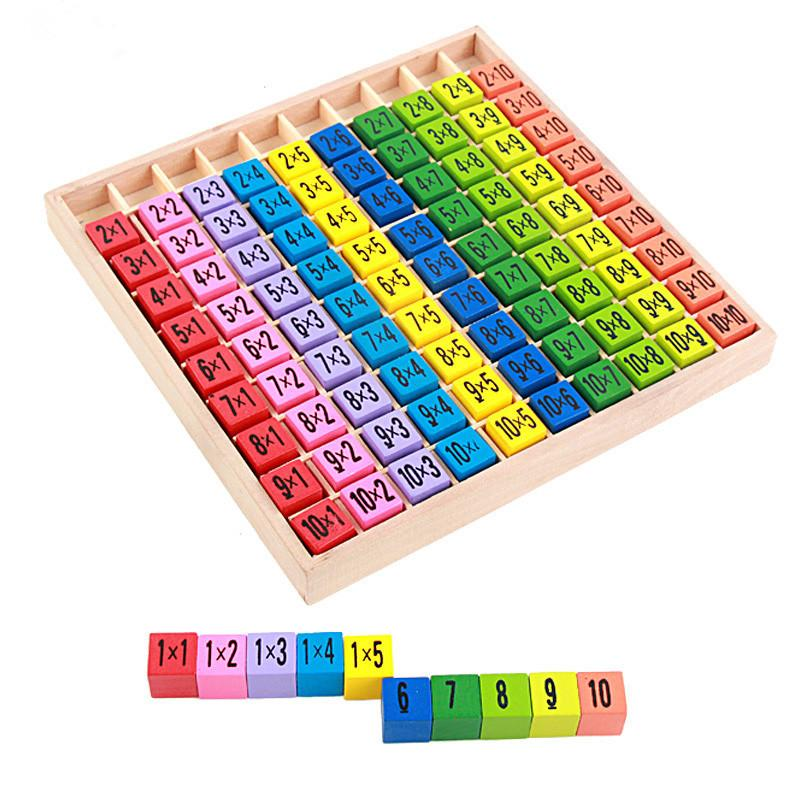 Multiplication Table Math Toy Wooden 10*10 Double Side Pattern Printed Board Colorful Figure Building Block Kids Educational Toys
