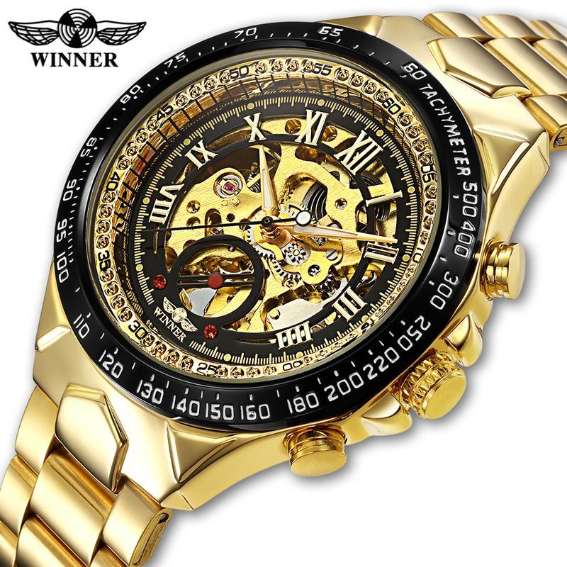 4d44b0ad03a Compre Vencedor Homens Relógio Novo Esporte Design Bezel Relógio De Ouro  Mens Relógios Top Marca De Luxo Montre Homme Homens Esqueleto Automático De  Vineer