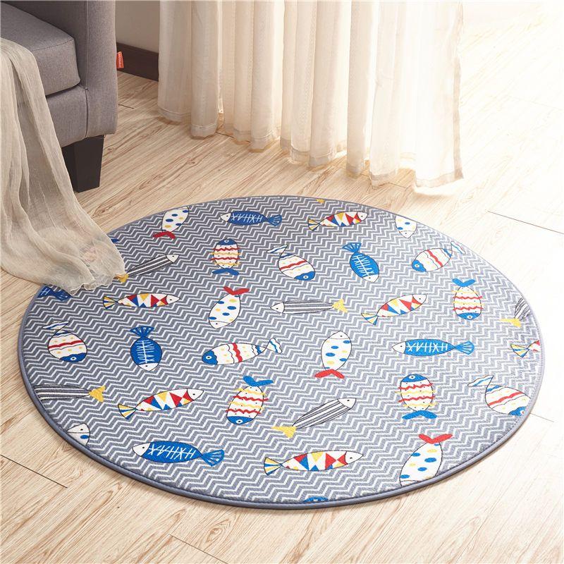 Ocean Fish Printed Round Bath Mat Diameter 60cm Bathroom Rugs Doormat  Anti Slip Floor Carpet For Bedroom Living Room Sofa Balcony Tapetes