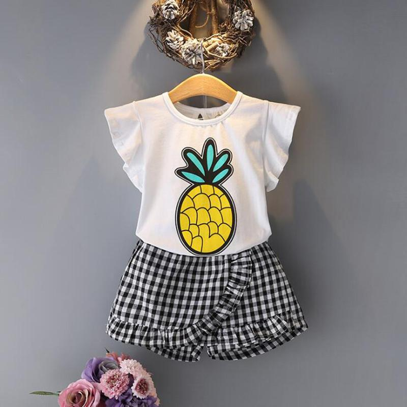 b1bbd144c8f 2019 2018 Brand Summer Girls Clothing Sets Fashion Cotton Print Short  Sleeve T Shirt + Pants Girls Clothes Sport Suits Crianca Roupas Y1892706  From ...