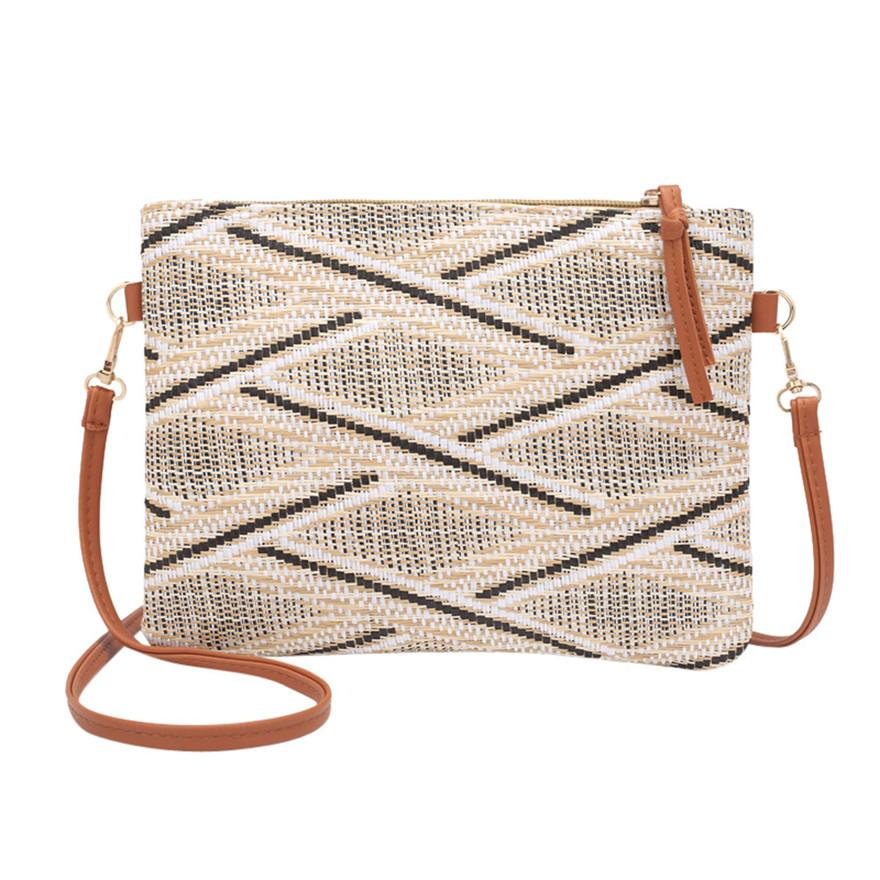 New Style Fashion Women Girl Weave Bag National Pretty Style Crossbody Shoulder Bags Zipper Coin Phone Purse Striped Beach Bag S
