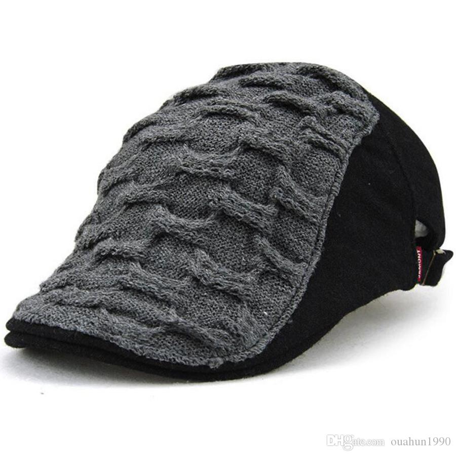 fd72138b35406 2019 Knitted Wool Duckbill Hat Warm Newsboy Flat Scally Cap Warm Ivy Cabbie  Drving Hunting Golf Mens Womens Winter Gatsby Snap Vintage Beret 8115 From  ...