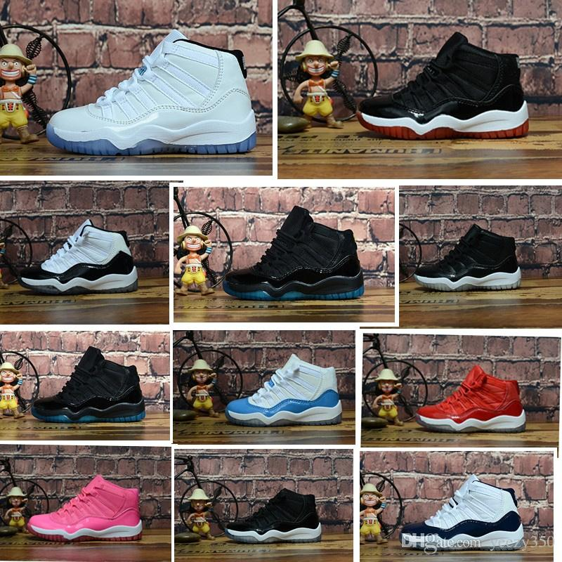 the best attitude 197df 169dd Children Gym Red XI 11 Big Kids Basketball shoes Bred Space Jam Toddler  Sneaker Concord Gamm Blue Infant 11s trainers With Box