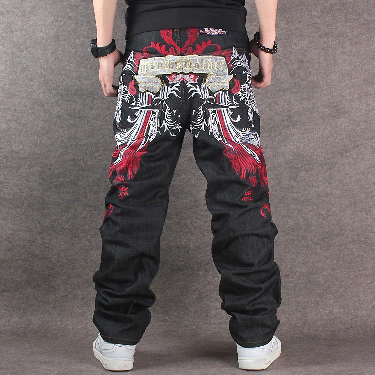 Compre 2017 Hombres Negro Baggy Jeans Hip Hop Diseñador CHOLYL Marca  Monopatín Pantalones Estilo Flojo True HipHop Rap Jeans Boy A  42.28 Del  Edmund02 ... 4bac2317714