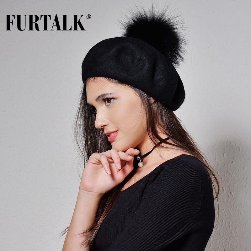 Großhandel Furtalk 100% Wolle Mütze Hut Für Frauen Waschbärpom Pom ...