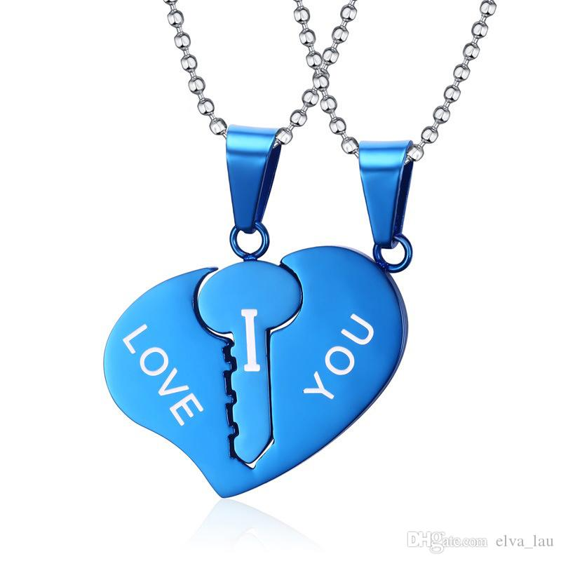 Wholesale key lock heart necklace sets couple his hers promise i wholesale key lock heart necklace sets couple his hers promise i love you stainless steel jewelry pendant necklaces for men women silver necklace chain aloadofball Image collections