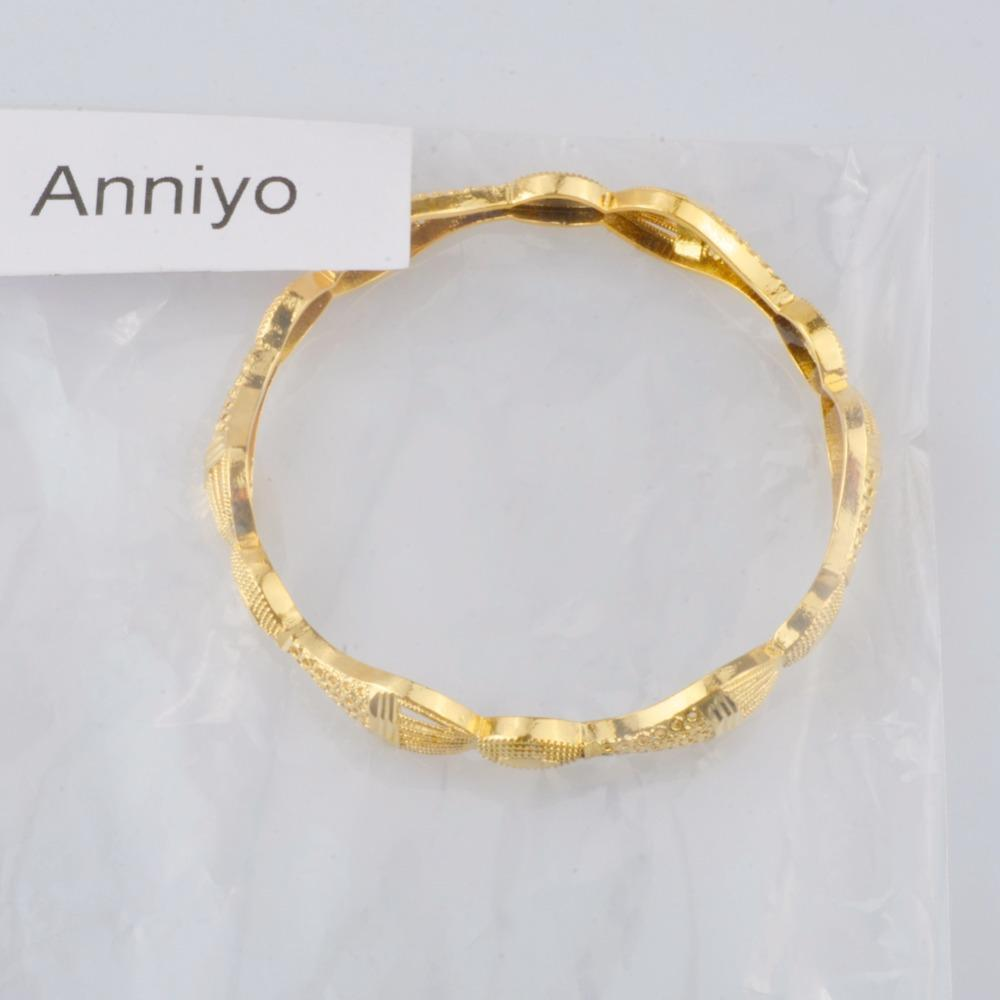 Anniyo Gold Color Bangle for Women Ethiopian Bracelets Middle East Dubai Wedding Jewelry African Gifts #086506