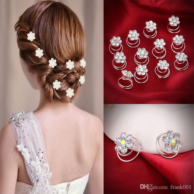 12pcs/lot Hair Decor Crystal Rhinestone Flower Hair Clips Hairpins Hairgrips Hairclip Barrette Clips For Women Girls Hair Accessories