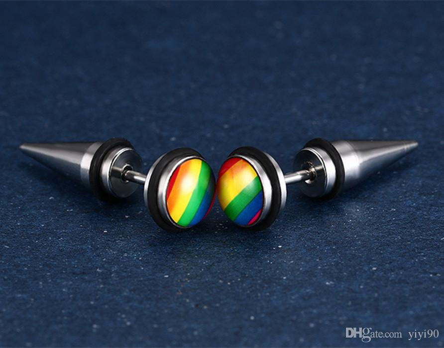 Fashion LES Stainless Steel Rainbow Glue Ear Stud Earring For Gay Lesbian Pride Jewelry Wedding Gift