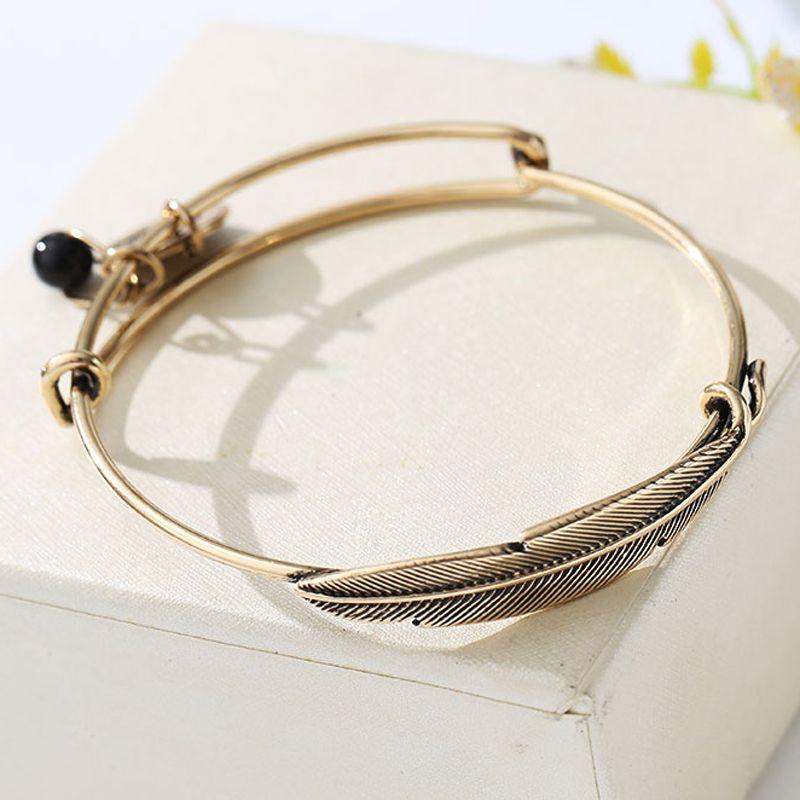 8ac375a4efa83 2018 Vintage Feather Design Gold Color Leaf Love Letter Beads Bracelet Men  Women Open Cuff Bracelets Bangles For Indian Jewelry