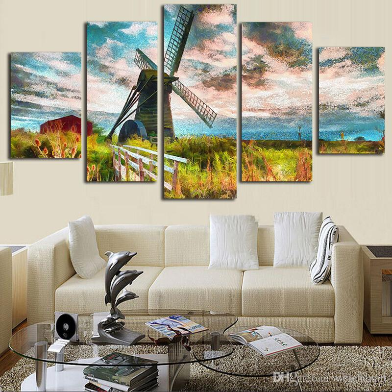 Canvas Abstract Paintings Living Room Decor Wall Art 5 Pieces Windmill  Island Scenery Poster Prints Mountains Pictures Framework