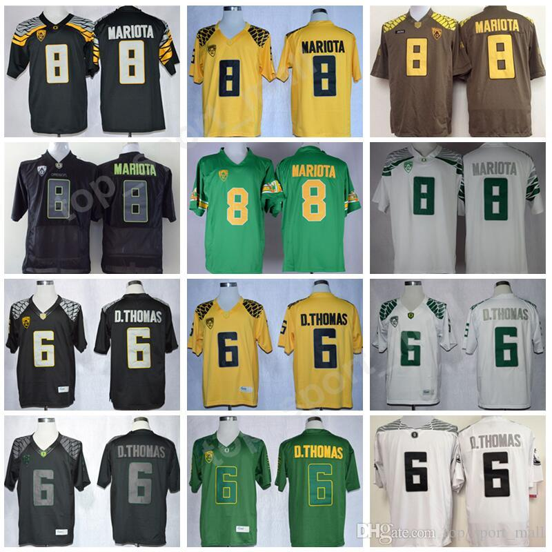 newest 0ac9e 56a8b Oregon Ducks 8 Marcus Mariota Jersey Men College Football 6 D Thomas  Anthony Jerseys PAC 12 Embroidery University Green Yellow Black White