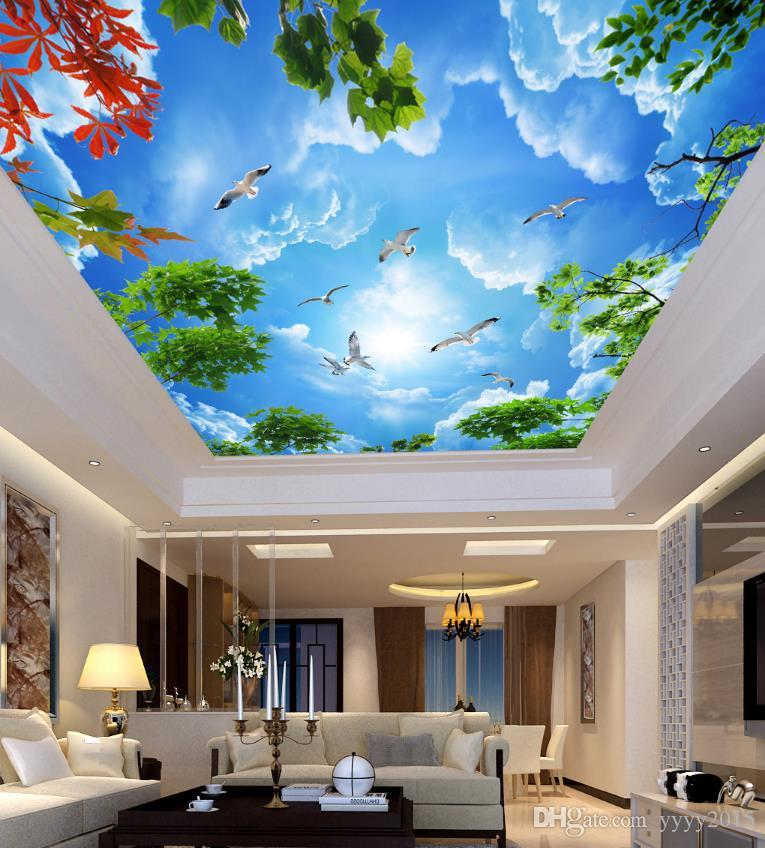 Modern Wallpaper For Living Room Beautiful Blue Sky And White Clouds ...