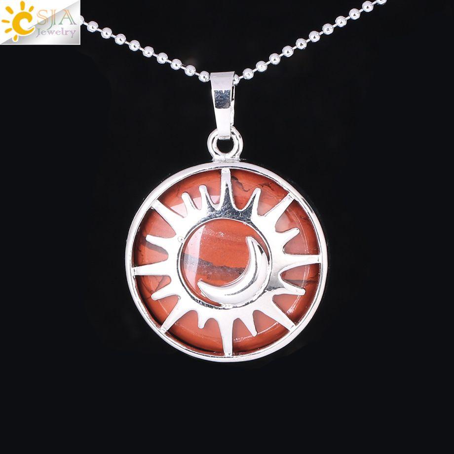 CSJA Natural Gemstone Round Beads Pendant Moon&Sun Necklace Amethyst Tiger Eye Rose Quartz Crystal Reiki Lover Amulet Jewelry Copper F335 B