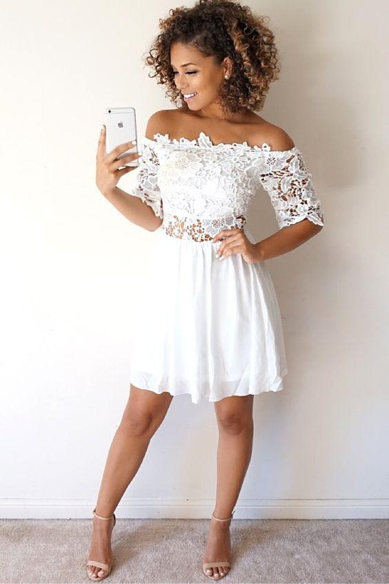 White Graduation Dresses Short