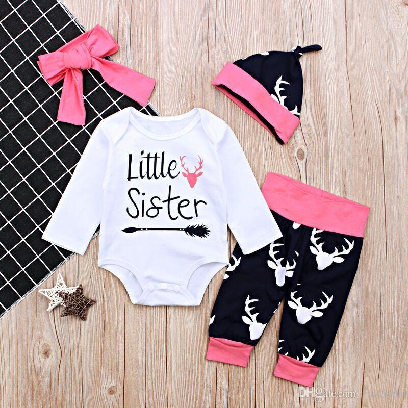 INS Girls Baby Christmas Rompers Clothing Sets Letter Long Sleeve ... cf6edda592b5