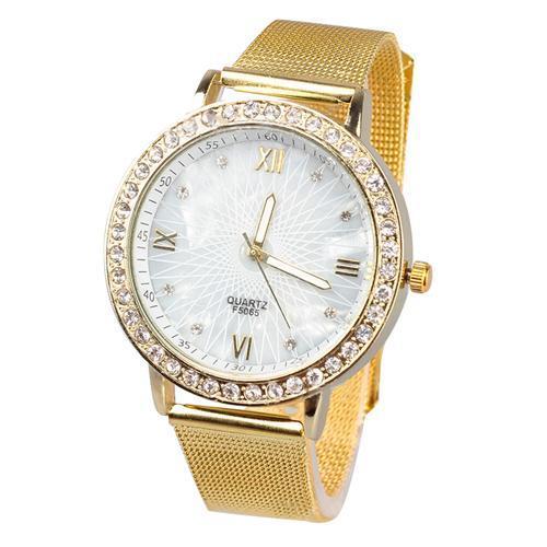 dd63276bf82d Compre Top Marca De Lujo Montre Femme 2018 Mujeres Moda Rhinestone Números  Romanos Chapado En Oro Banda De Malla Metálica Reloj De Pulsera Relogio A   34.57 ...