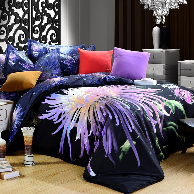 Cheap 3D Bedding Set Queen Modern Animal Floral Print Tiger Lion Wolf Leopard Rose Daisy 100% Polyester Fabric Bed Sheet Set