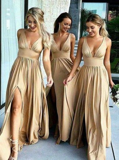 2018 Summer Boho Bridesmaid Dresses A Line V Neck Front Split Long Maid of Honor Gowns Plus Size Wedding Guest Wears BM0141