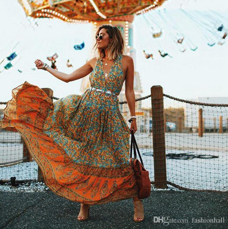 8dac05f4563b New Arrival Summer Maxi Dress Sleeveless Deep V Neck Sexy Floral ...