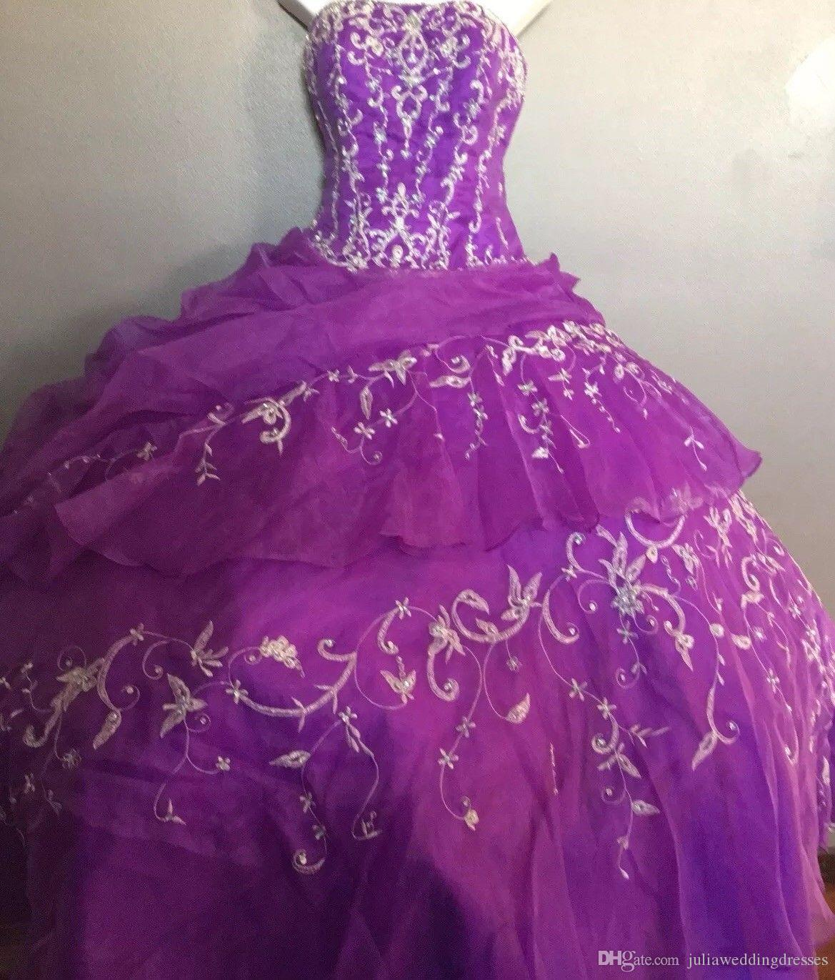 2019 New Luxury Purple Ball Gown Embroidery Quinceanera Dresses Crystals  For 15 Years Sweet 16 Plus Size Pageant Prom Party Gown QC1054 Aqua  Quinceanera ... 35356fe3a6ca