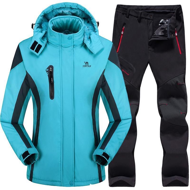 601cbadcaca Compre Traje De Esquí Mujer Chaqueta De Esquí Pantalones Impermeable Traje  De Esquí De Montaña Juegos De Snowboard Invierno Deportes Al Aire Libre Ropa  ...