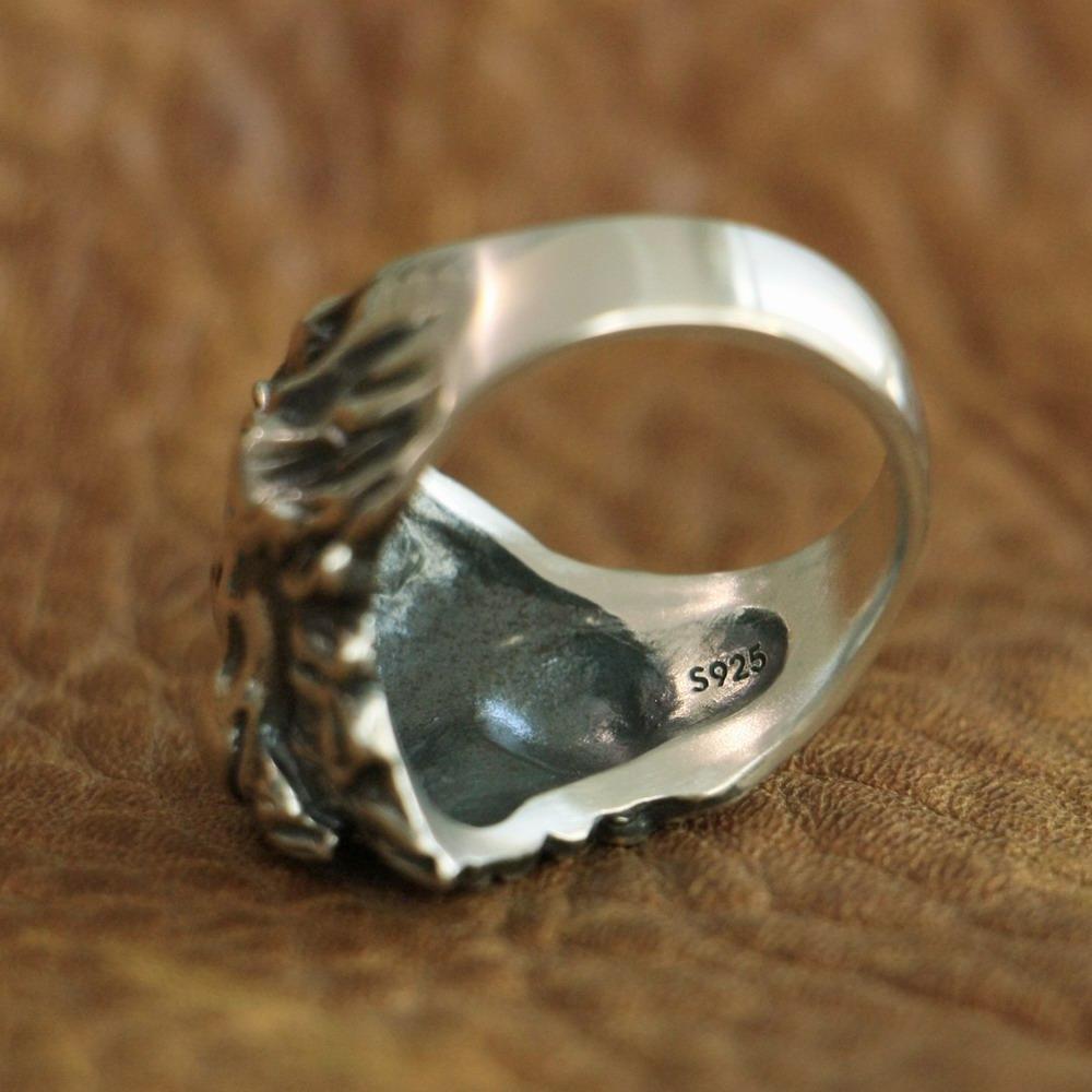 LINSION 925 الفضة الاسترليني ملك الأسد الدائري تفاصيل عالية رجل السائق الشرير الدائري TA109 الولايات المتحدة الحجم 7 إلى 15