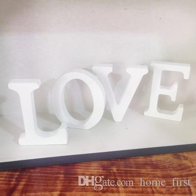 Yenilik Modern 27 İngilizce Alfabe Harfleri 8 CM Kalın Beyaz Ahşap Ev Süsler Düğün Doğum Günü Çekim Sahne 8 cm X 1.2 cm Sanat Zanaat