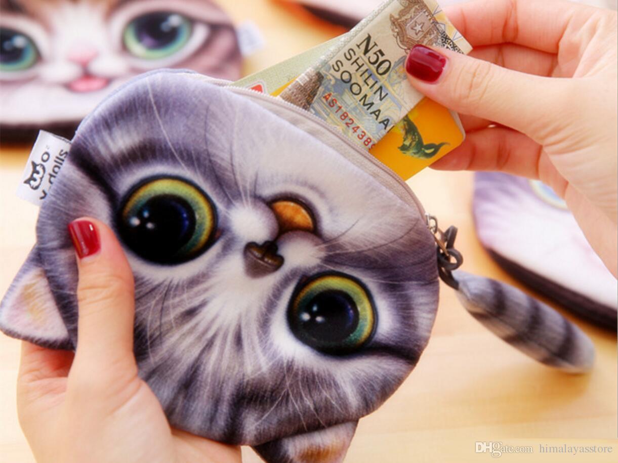 Cartoon 3D Chats Chiens Enfants En Peluche Porte-Monnaie Zip Porte-Monnaie Portefeuille Enfants Fille Femmes Pour Cadeau