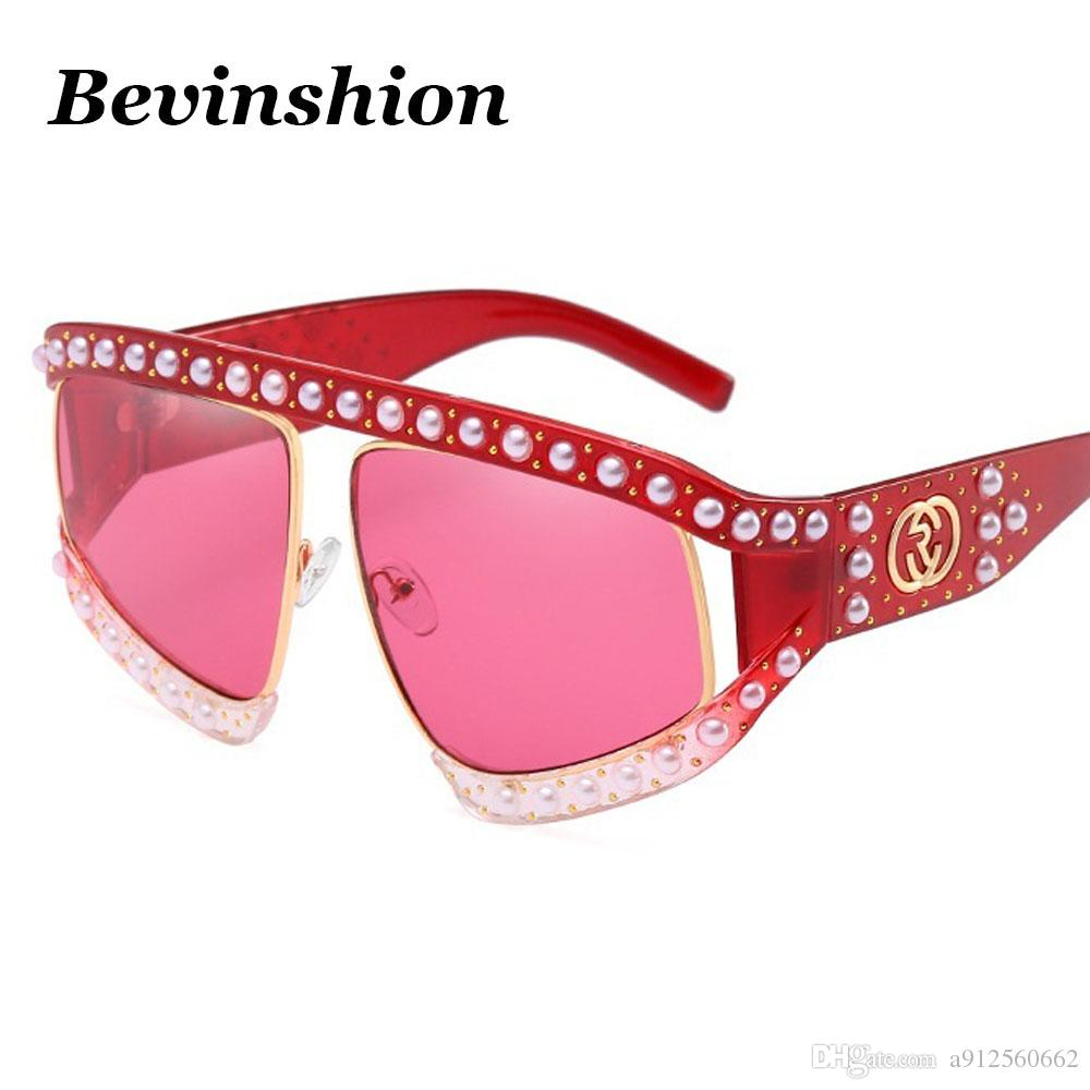 Luxury Mosaic Pearl Rivets Oversized Sunglasses Women Elegant Big ...