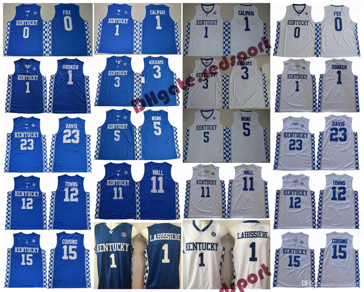 2019 Kentucky Wildcats 5 Malik Monk Calipari Adebayo 1 Booker Fox 11 John  Wall 23 Davis Labissiere 12 Towns 15 Cousins College Basketball Jerseys  From ... 8955ed904