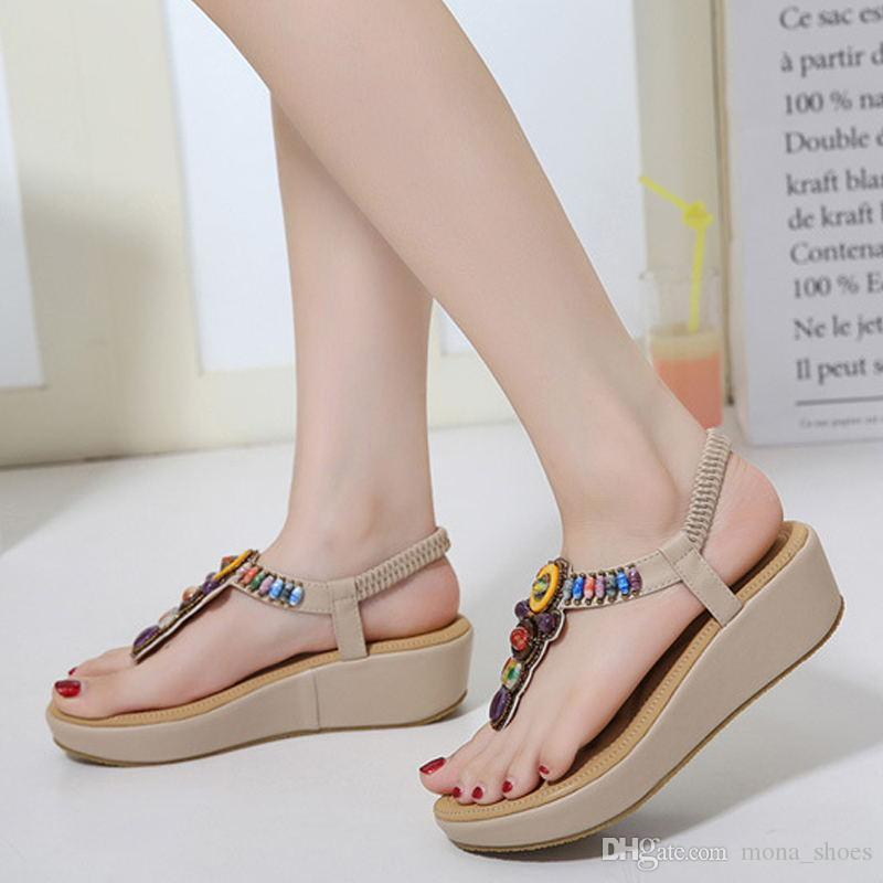 34307739e Platform Casual Beach String Women Wedges Sandals Female Fashion Shoes  Ladies Sandals Footwear 2018 Summer Women Shoes KBT727 Gold Shoes Flat Shoes  From ...