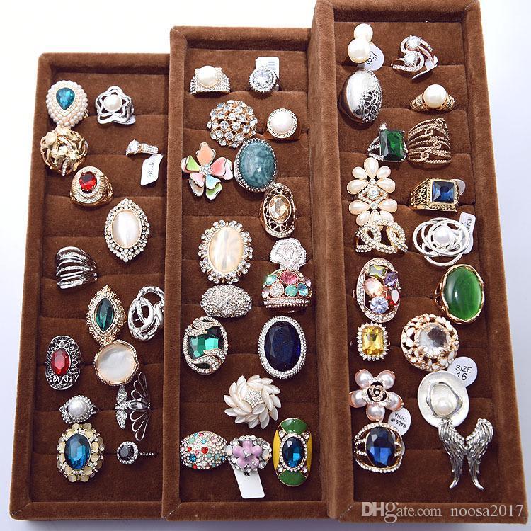 Moda jóias de luxo de cristal exagerada gem anéis o melhor presente para a festa casal anéis com anéis de zircão checo misturar estilos para vendas